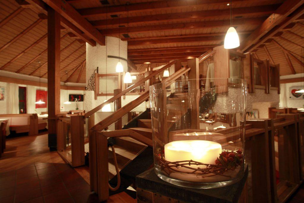 Blick aus dem Eingangsbereich unserer Speisemeisterei Burgthalschenke