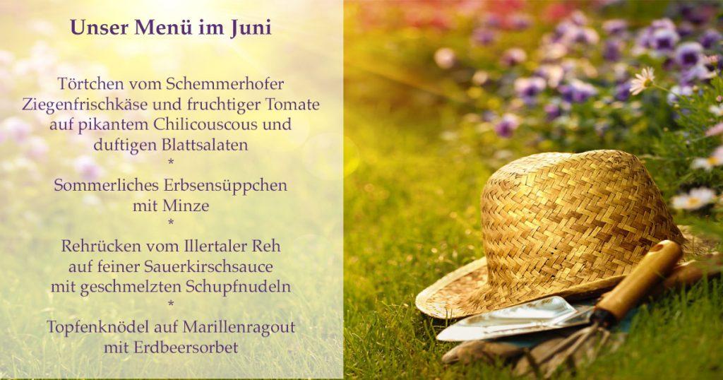 Das ist das Menü im Juni der Speisemeisterei Burgthalschenke.