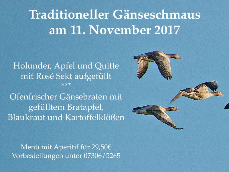 Dieses Bild zeigt das Menü zum traditionellen Gänseessen am 11.11.2017 in der Speisemeisterei Burgthalschenke.