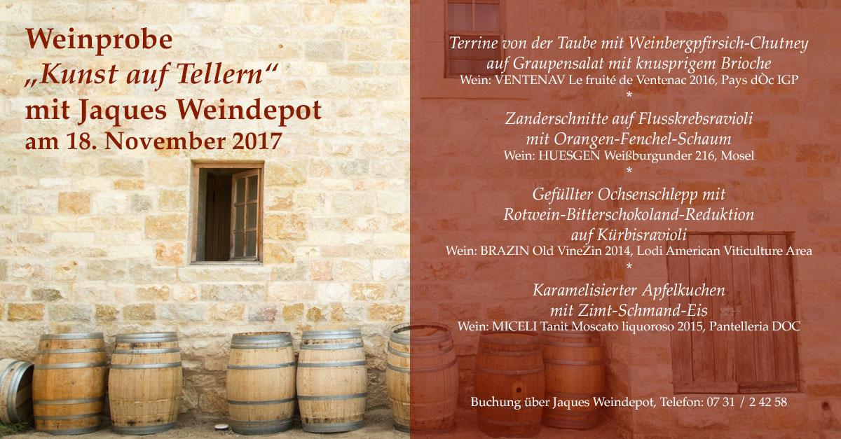 Weinprobe mit Jaques Weindepot Ulm am 18.November 2017.