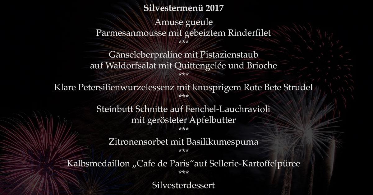 Das Silvestermenu der Speisemeisterei Burgthalschenke im Jahr 2017/18.