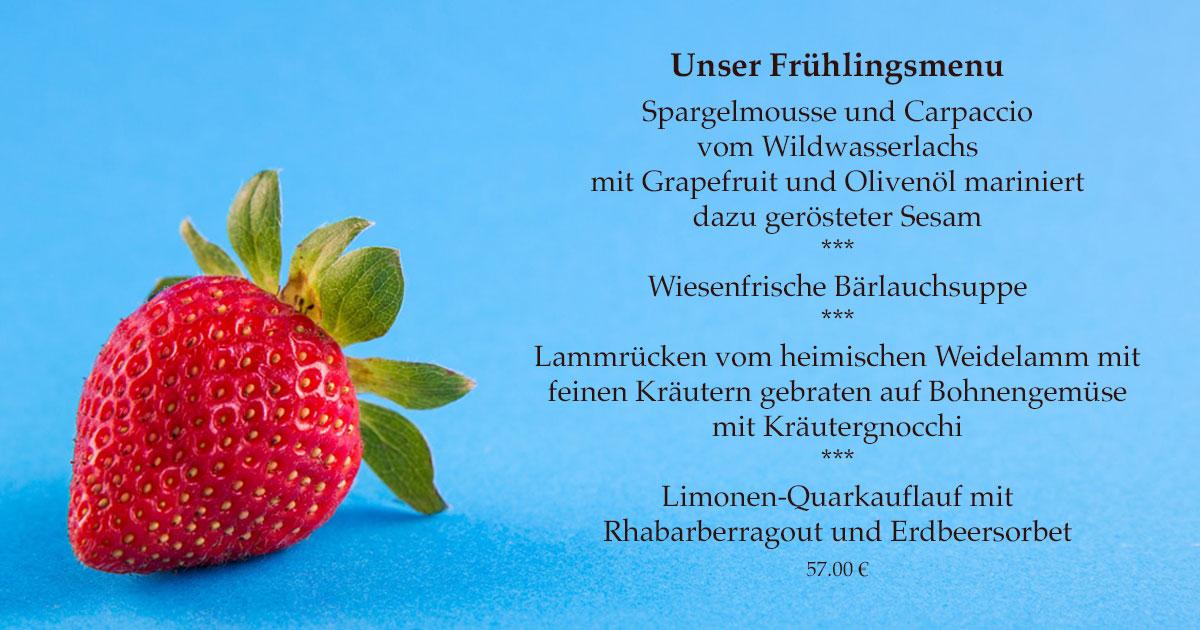Das ist das Frühlingsmenü der Speisemeisterei Burgthalschenke 2018.
