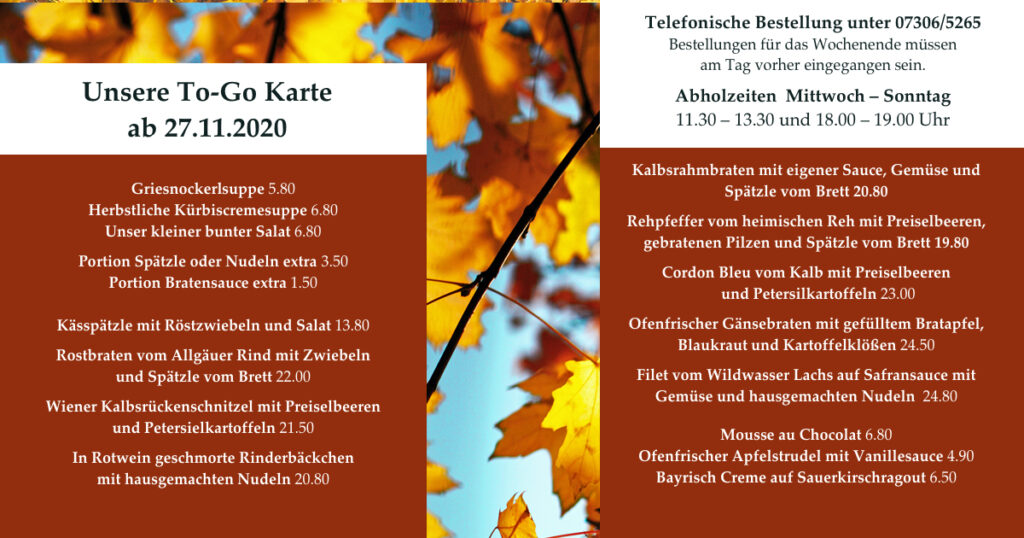 Unsere To Go Karte ab 27.11.2020